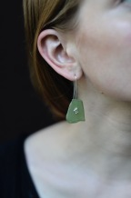 Bubble Seaglass Earrings, Sea glass and Silver