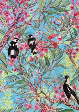 Magpies and Wattle